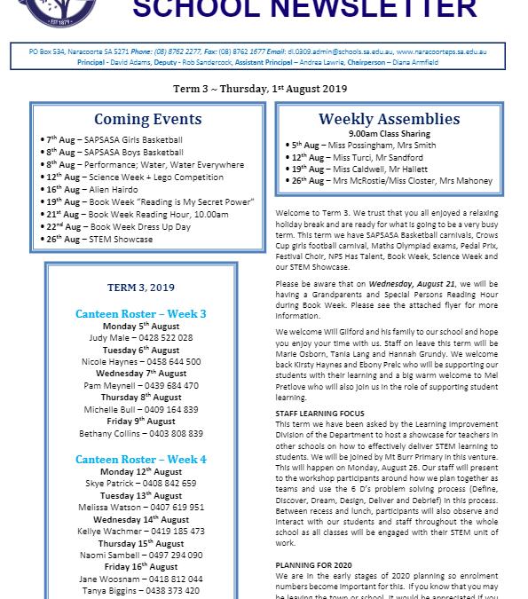 2019 – Term 3 – 1st August