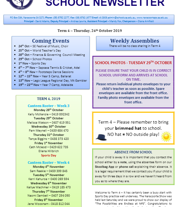 2019 – Term 4 – 24th Oct