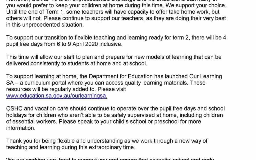 Pupil Free Days in April