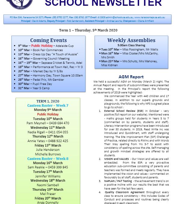 2020 – Term 1 – 5th Mar