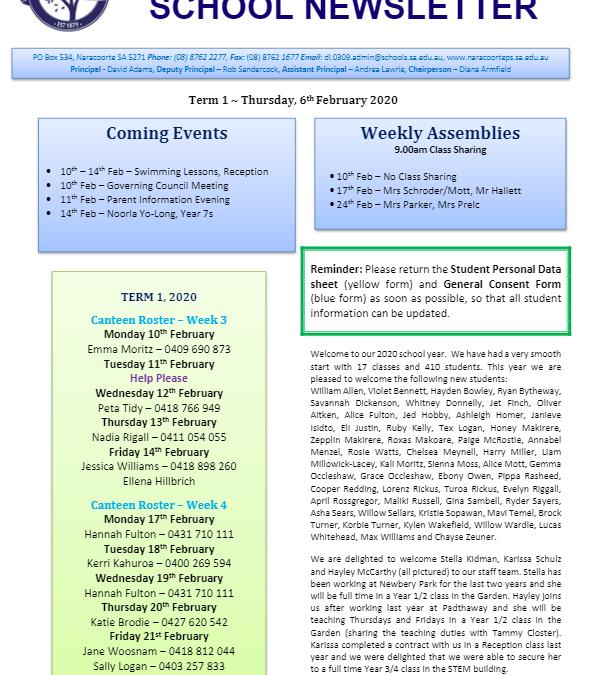 2020 – Term 1 – 20th Feb