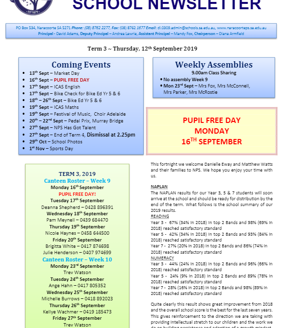 2019 – Term 3 – 12th Sep