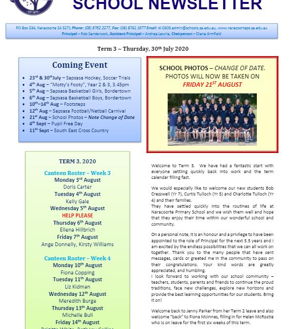 2020 – Term 3 – 30th July