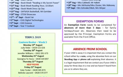 2019 – Term 3 – 15th Aug